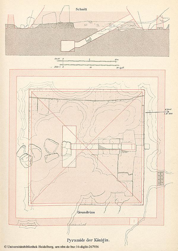"""Pyramide der Königin Schnittzeichnung bzw. Auszug aus """"Das Grabdenkmal des Königs Chephren"""", Uvo Hölscher, 1912"""
