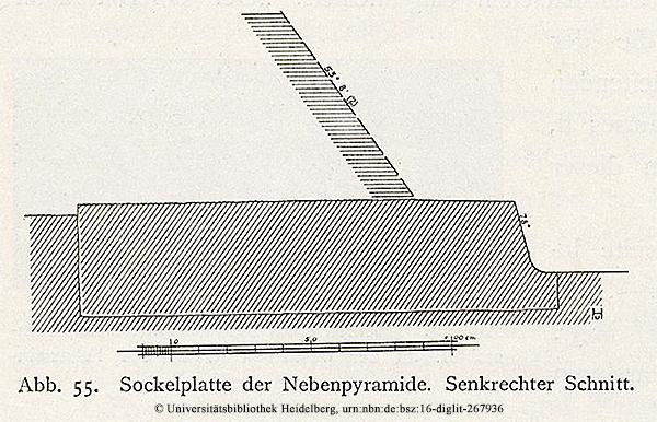 """Sockelplatte der Nebenpyramide (Pyramide der Königin) mit einer Böschung von 53 - 54 ° Schnittzeichnung bzw. Auszug aus """"Das Grabdenkmal des Königs Chephren"""", Uvo Hölscher, 1912"""