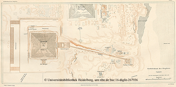 """Lageplan nach den Ausgrabungen in den Jahren 1909 und 1910 """"Das Grabdenkmal des Königs Chephren"""", Uvo Hölscher, 1912"""
