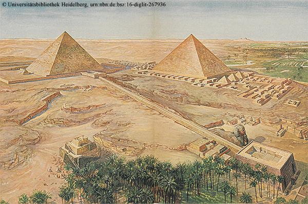 Das Pyramidenfeld bei Gise zur Zeit des Alten Reiches Rekonstruktion nach Uvo Hölscher, 1912