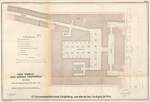 """Der Torbau (Taltempel) des Königs Chephren — Grundriss """"Das Grabdenkmal des Königs Chephren"""", Uvo Hölscher, 1912"""