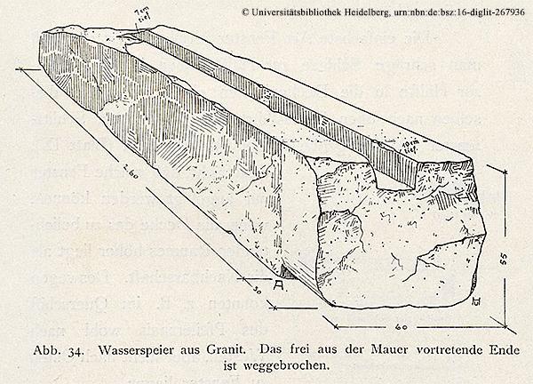 """Der Torbau (Taltempel) des Königs Chephren — Abwasserrinne in der Westwand """"Das Grabdenkmal des Königs Chephren"""", Uvo Hölscher, 1912, vgl. Bild 30b/39"""