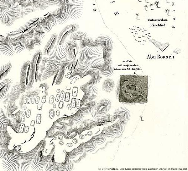 Lepsius-Karte von Abu Roasch, Auzug mit