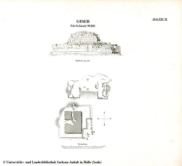 """Lepsius-Karte von Gizeh, Auzug mit dem Grab der Chentkaus I. (damals noch als """"Fels Gebäude 99.100."""" bezeichnet)"""