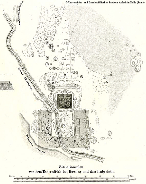 """Lepsius-Karte der Hauwara-Pyramide von Amenemhat III., """"Situationsplan von dem Todtenfelde bei Howara"""" (damals noch so bezeichnet)."""