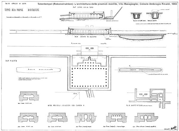 Cheops-Pyramide, Totentempel (Rekonstruktion): L'architettura delle piramidi menfite, Vito Maragioglio; Celeste Ambrogio Rinaldi, 1963
