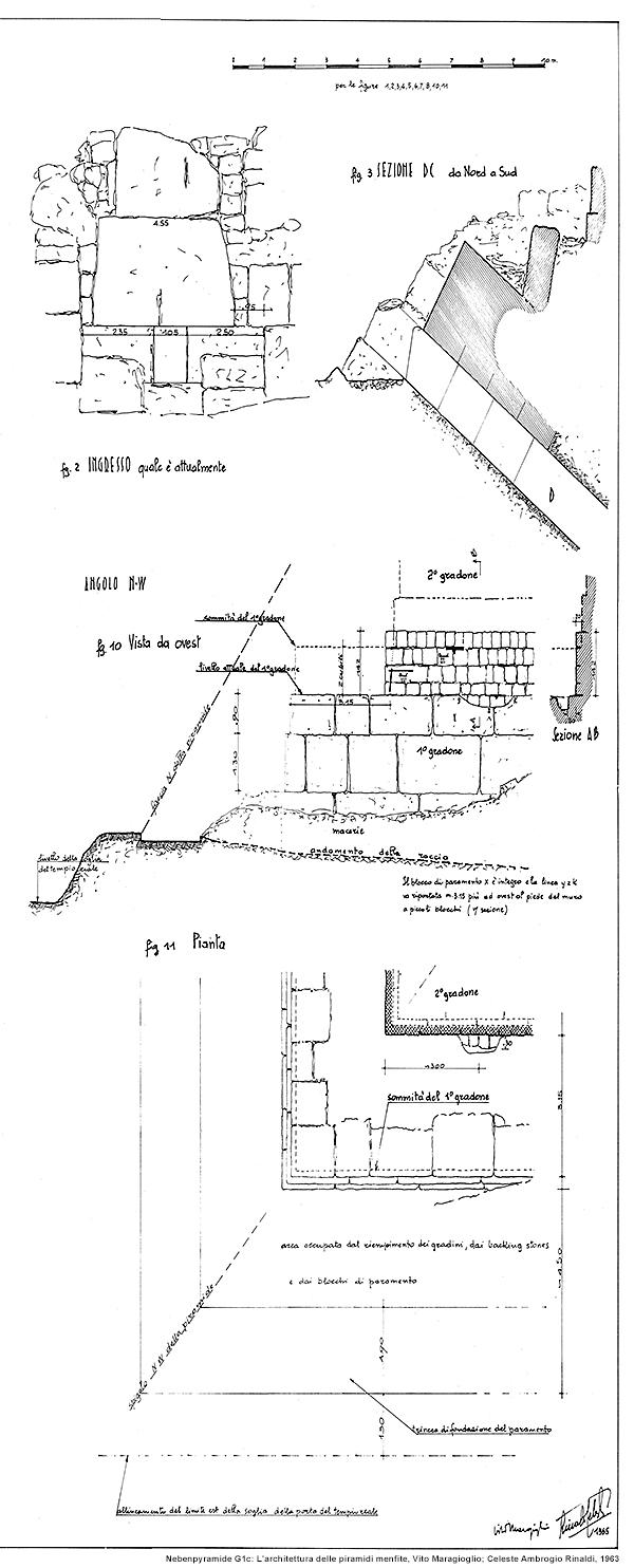 Nebenpyramide G1a außen: L'architettura delle piramidi menfite, Vito Maragioglio; Celeste Ambrogio Rinaldi, 1963