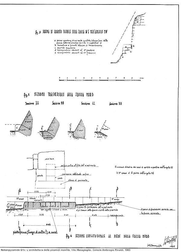 Nebenpyramide G1b außen: L'architettura delle piramidi menfite, Vito Maragioglio; Celeste Ambrogio Rinaldi, 1963