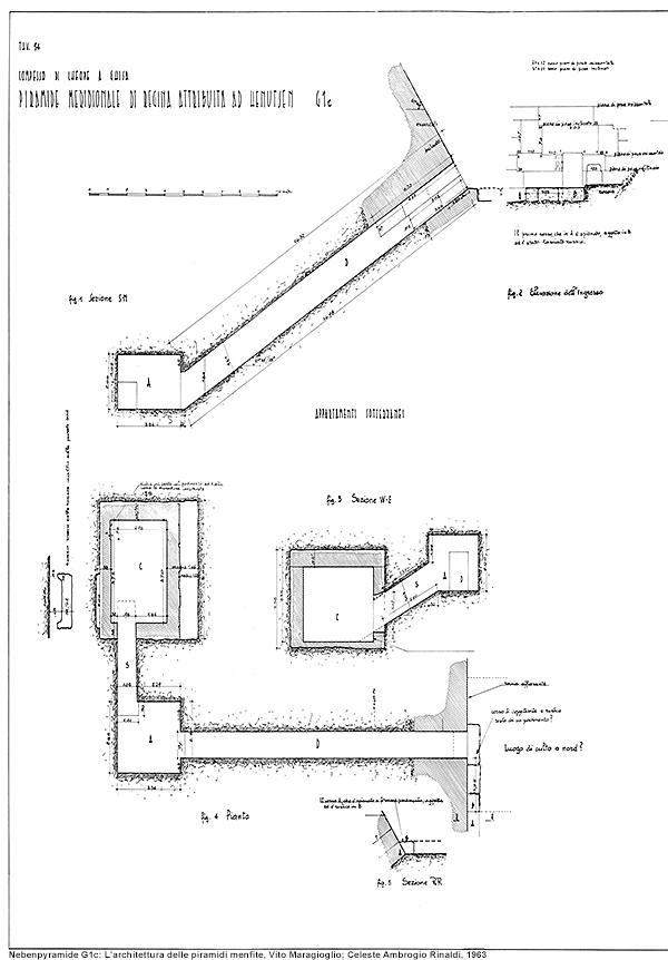 Nebenpyramide G1c innen: L'architettura delle piramidi menfite, Vito Maragioglio; Celeste Ambrogio Rinaldi, 1963