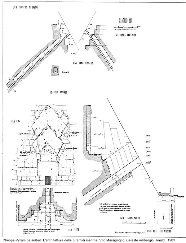 Cheops-Pyramide, Seite: L'architettura delle piramidi menfite, Vito Maragioglio; Celeste Ambrogio Rinaldi, 1963