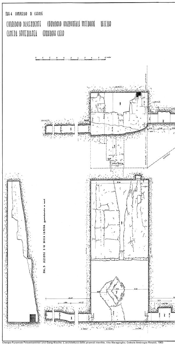 Auszug Schnittzeichnung Cheops-Pyramide, Felsenkammer aus L'architettura delle piramidi menfite, Vito Maragioglio; Celeste Ambrogio Rinaldi, 1963