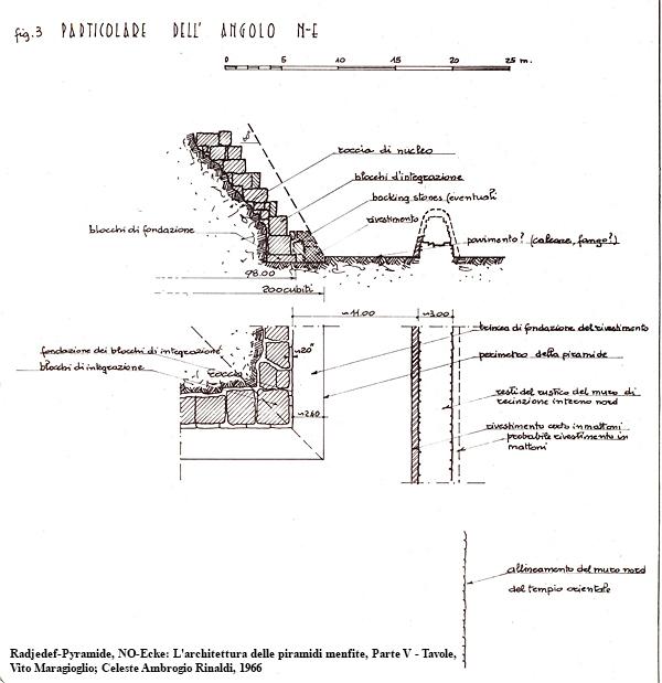 Nordost-Ecke der Radjedef-Pyramide: L'architettura delle piramidi menfite, Parte V — Tavole, Vito Maragioglio; Celeste Ambrogio Rinaldi, 1963