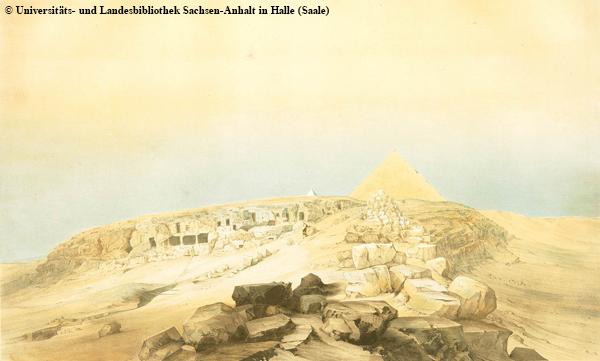 Blick nach Westen auf die Cheops-Pyramide. Im Vordergrund ist noch die Pampe bzw. der Aufweg deutlich zu erkennen. Heute ist der Aufweg durch den Ortsteil Gizeh völlig überbaut, vgl. Bilder 20b/15 ff..