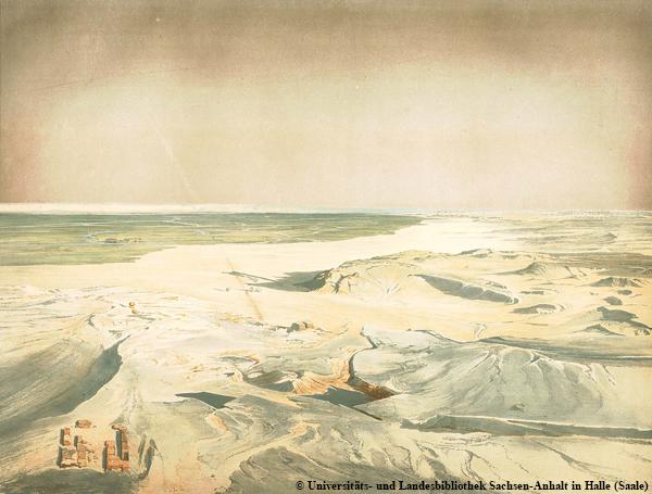 Reste vom Totentempel vor der Nordseite der Chephren-Pyramide in Gizeh (links unten).