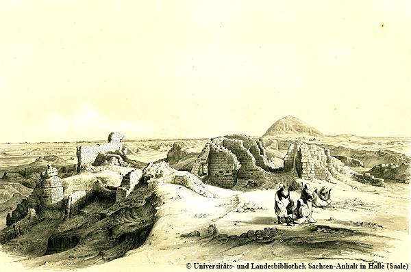"""Das sog. """"Labyrinth"""" bzw. der einstmals riesige Totentempel des Amenemhat III. bei dem Ort Hauwara (Originalzeichnung der Lepsius-Expedition). Heute sind noch nicht einmal diese Reste mehr erkennbar."""