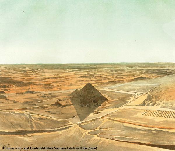 Blick von der Chephren-Pyramide auf die Nordostecke der Mykerinos-Pyramide.