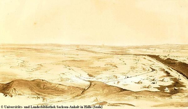 """Originalzeichnung des Panoramas nach Südosten bei der """"Pyramide des Labyrinthes"""" (von Lepsius damals so bezeichnet)."""