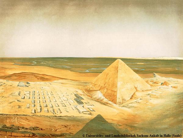 Blick von der Chephren-Pyramide auf die Südwestecke der Cheops-Pyramide.