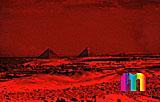 Infrarotaufnahme des Gizehplateaus von Abu Roasch aus gesehen